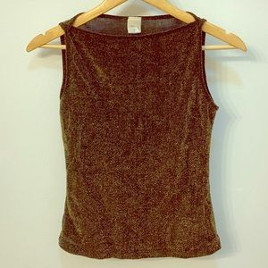 Tiffany gold sparkle boatneck sleeveless top